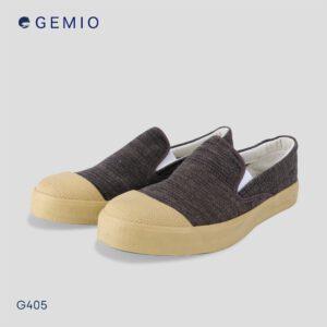 รองเท้าผู้ชายผ้าทอสีน้ำตาลพื้นยางพารา